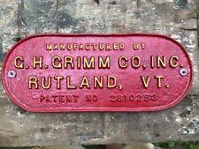 Gh Grimm Co Inc Rutland Vt Antique Tractor Part Farm Cast Iron Plaque Plate