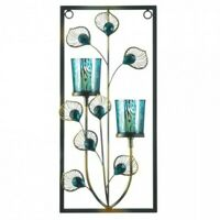 Hanging Decorative Home Decor Peacock Rectangular Wall Sconce w/2 Candle Holders
