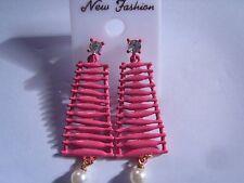 Ohrring mit rosa Waschbrett mit Perle unten und Strassstein Oben  3177