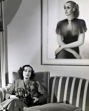 Joan Crawford seated with her two Dachshund puppy dogs movie star 8x10 photo