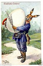 POSTCARD THIELE RABBIT POSTMAN NUMBER 107 WITH GIANT EGG T.S.N. 1240