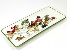 "Pier 1 Imports PARK AVENUE PUPPIES 14"" Platter Treat Tray Christmas Dog Scarf"