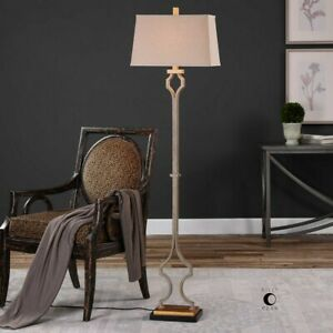 """VINCENT MODERN FORGED METAL GOLD GRAY WASH XXL 65"""" FLOOR LAMP UTTERMOST"""