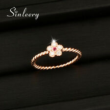 Cute Small Pink Crystal Flower Rings For Women Girl Lady 18K Rose Gold Plated