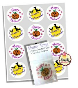 Cupcake Toppers Happy Halloween Pre-cut Wafer Cupcake Decoration 40mm x 12