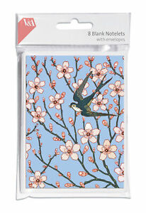 Pack 8 Blank Almond Blossom Notelets and Envelopes Victoria & Albert Collection