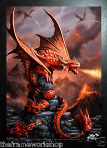 ANNE STOKES ART BLACK FRAMED FIRE DRAGON - 3D PICTURE PRINT LARGE 325mm x 425mm