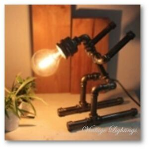 Table Lamp Steampunk Vintage Industrial Style Retro Hand Made Pipe Desk UK Stock
