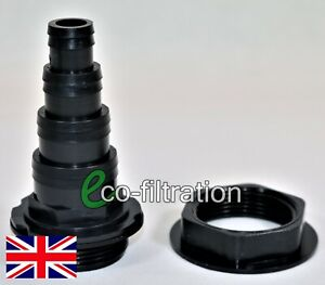 1.5″ BSP 4 STEPPED BLACK THREADED HOSETAIL AND BACK NUT KOI FISH POND FILTER