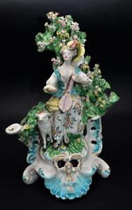 Large Antique 18thC Derby Porcelain Shepherdess Bocage Figure Figurine C 1770