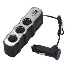 Car Cigarette Lighter Socket Splitter 3-Way USB Charger Adapter DC 12V Amid