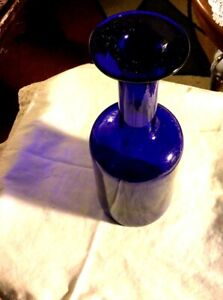 Lovely, Decorative Cobalt Bottle With Flat Rim