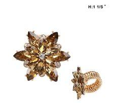"1 1/5"" Gold Tone Brown Rhinestone Flower Stretch Ring"