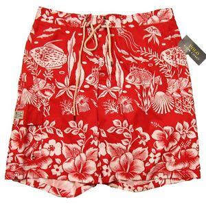 """Polo Ralph Lauren Men's Red Floral 8.5"""" Kailua Swim Trunks"""