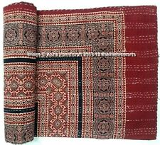 Indian Red Handmade Embroidered Ajrakh Print Kantha Quilt Hippie Decor Quilts