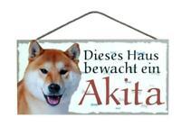 Akita Hunde Holzschild Türschild Tierschild Dog Wood Sign 25 cm