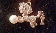 BETSEY JOHNSON CRYSTAL & FAUX PEARL PUPPY PENDANT CHARM NECKLACE-NWT