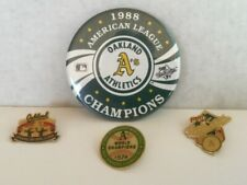 Lot of 4 Oakland A's Athletics Pins 1989 World Series Champions 1988 AL Champion