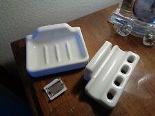 Vintage Mid Century 50s White Porcelain Soap Toothbrush Paste Holder Fixtures