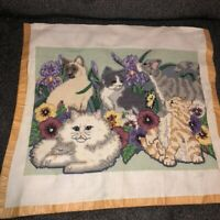 "Vintage Completed Needlepoint Canvas Multiple Cats 18""x13"" for Pillow or Framing"