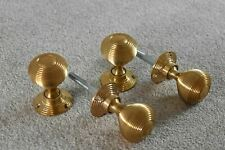 More details for 2 pairs of classic solid brass victorian style beehive door knobs knob handle a1