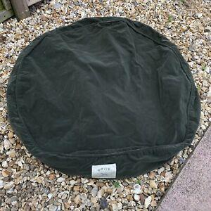 Orvis Green Dog Bed Cover Medium Round Circle Velvet Fleece