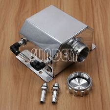 1L Alloy Aluminium Oil Catch Can Tank Reservoir with Drain Plug 1000ml Polished.
