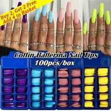 100Pcs/Set Full Cover False Nail Matte Tips Coffin Fake Nails Manicure UV Gel