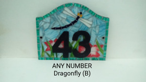 Dragonfly House Number Plate Door Sign Plaque Any Number Coloured Glass Mosaic