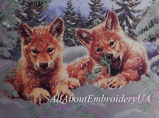Bead Embroidery kit Wolf Cubs Needlepoint Handcraft Beaded cross stitch kit 3D