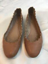 Chloe Lauren Nude Pink Leather Scalloped Edge Ballerina Shoe Flats size 38 or 8