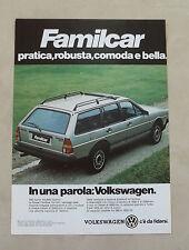 E969 - Advertising Pubblicità - 1985 - VOLKSWAGEN FAMILCAR C'E' DA FIDARSI