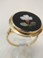 Antique Vintage Estate18K Yellow Gold Black Onyx Pietra Dura Ladies Ring sz  8.5