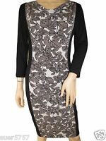 New Ex M&S Black Floral Jersey Casual Thin 3/4 Sleeve Shift Dress Size 12