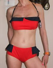 $183 MARC JACOBS L Red Blue Retro Peplum Two Piece Bandeau Bikini Swimsuit