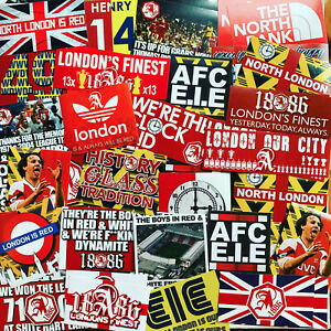 100 x Arsenal Ultra Style Stickers inspired by Herd Programme North Bank Cap Hat