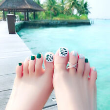 24 x leaves false fake artificial toe nails tips toe nail holiday with RAZY