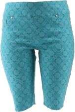 DG2 Diane Gilman Stretch Pull-On Bermuda Short Turquoise Tile L # 697-721