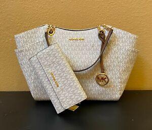 Michael Kors JST Medium Chain Tote Bag + LG Trifold Wallet Set MK Vanilla