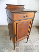 antique,edwardian,mahogany,inlaid,cabinet,drawer,tapered legs,shelves,cupboard