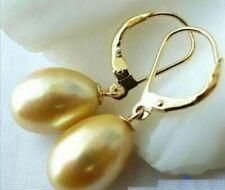 Hot Huge AAA 10-11mm south sea Golden pearl earrings 14K YELLOW GOLD