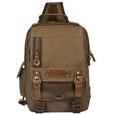 Vbiger Men's Canvas Backpack Sling bag Chest Pack for Travelling Coffee