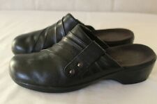 CLARKS brand womens mule shoes size 6 m black leather upper slip on