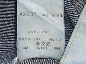 LEVI LVC 1955 501XX BIG E SELVEDGE 555 VALENCIA ST. '98. W30 X LEG 34.5 USED.