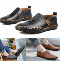 New Men's Comfy Leather Casual Slip On Loafer Shoes Moccasins Driving Shoes