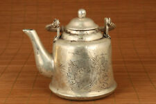 New listing big chinese old Tibet Silver Copper Carved Statue portable Tea Pot