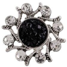 White Rhinestone Black Resin Twisted Flower 20mm Snap Charm For Ginger Snaps