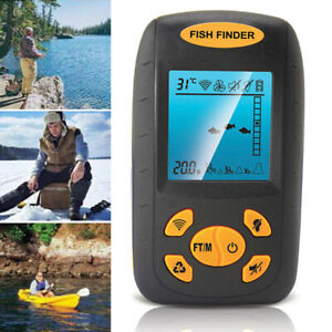 100M / 328Ft Fish Finder Depth Sonar LCD Display Transducer Carp, Boat, Canoe!
