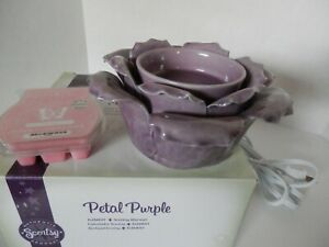 Scentsy PETAL PURPLE Warmer With One Scentsy PINK TULIPS Wax Bar