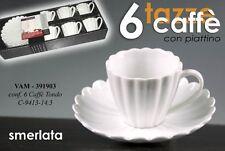 SET 6 TAZZINE BIANCHE CAFFE' CON PIATTINO TONDO SMERLATE VAM-391903